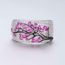 Gorgeous Rose Red Ruby Plum Blossom Tree Ring 925 Silver Wedding Jewelry Sz 5-11