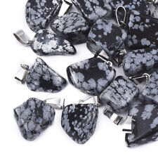 24× Natural Snowflake Obsidian Pendant Snap On Bail Nugget Charm Gemstone Crafts