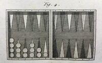 Backgammon 1792 Rare Gravure ancienne Jacques Lacombe Statistiques Jeu ancien
