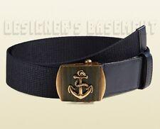 GUCCI blue Canvas 40-100 brass ANCHOR Slip LOGO buckle Belt NWT Authentic $330!