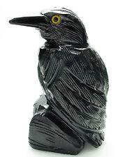 CARVED - Large BLACK ONYX RAVEN (Crow) Spirit Animal Totem w/Card- Healing Stone