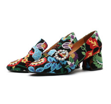 Women's Embroidery Rhonestones Buckle Strap loafers Moccasins Shoes floral