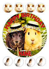 GUINEA PIG / PIGS  ROUND 7.5 + 8 PERSONALISED EDIBLE  ICING FROSTING CAKE TOPPER