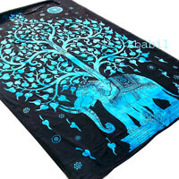 Blue Tree Of Life Indian Wall Hanging Hippie Elephant Tie Dye Tapestry Throw