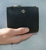 NWT Tory Burch Emerson Saffiano Mini Wallet in Black