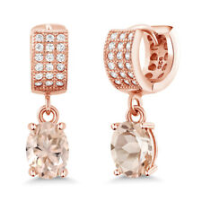 2.67 Ct Oval Peach Morganite 18K Rose Gold Plated Silver Earrings