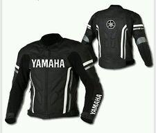 YAMAHA BLACK MOTORBIKE LEATHER JACKET - CE APPROVED FULL PROTECTION