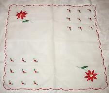 Vintage Christmas Handkerchief  Cotton/ Blend Embroidered 12