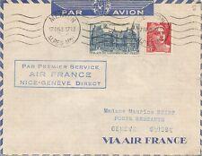 LETTRE PAR AVION VIA AIR FRANCE NICE POUR GENEVE SUISSE 1948