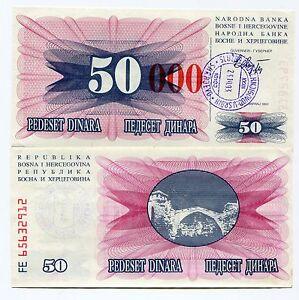 "Bosnia Banknote 50000 DINARA 1993 tall Red Zeros ""0"" UNC P55d"