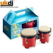 """Juguete Musical Niños Bongo Set Para Niños Mini Tambores seguro carcasa de plástico 4.5""""/5"""" Nuevos Y En Caja"""