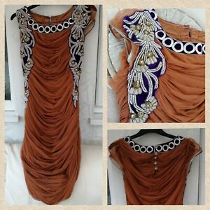 Womens Ladies Ruched embroidered dress size Small, Jewels, Gems, Boho, unusual