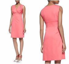 NWT ELIE TAHARI SZ 2 Sonya Coral Sleeveless Dress Stretch Cotton Blend