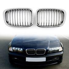 Front Fence Calandre Grille ABS Chrome Mesh Pour BMW E46 4D 1998-2001 3 Series ,