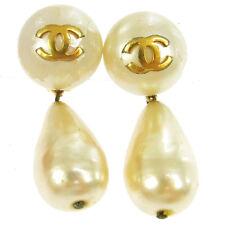 "Auth CHANEL Vintage CC Logos Earrings Imitation Pearl Clip-On 0.7 - 1.9 "" V02029"