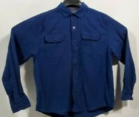 Woolrich Men's Large Flannel Shirt Navy Blue 100% Cotton Long Sleeve Button Down