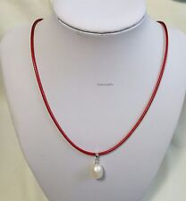 Genuine silver9-11mm freshwater pearl pendant Korea Wax rope Necklace L40/45cm