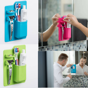 Wall Mount Stand Holder Silicone Toothbrush Toothpaste Bathroom Mirror Shower US