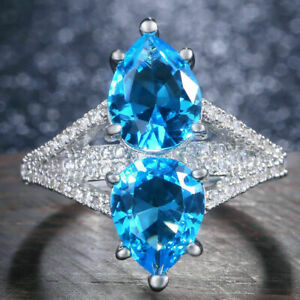 3Ct Pear Cut Blue Topaz Diamond Solitaire Engagement Ring 14K White Gold Finish
