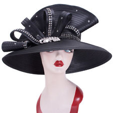 732a577fe3ae1 Black Women Satin Ribbon Dressy Church Kentucky Derby Design Dress Hat A496