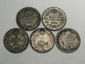 5 Silver 5¢ Five Cent CANADA: 1918, '20, '19, '12, '10 - Some Glue on Coins. #21