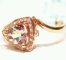 1.10CT 14K Rose Gold Natural Morganite Cut White Diamond Wedding Engagement Ring
