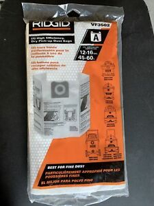 New Ridgid VF3502 2 High Efficience Dry Dust Bags 12to16 Gallons White F13