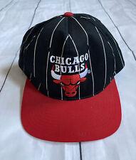 Vintage 90s Starter Chicago Bulls Pinstriped Snapback Jordan Official NBA Hat