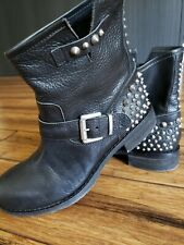 Womens Black Leather Studs Spike Buckle Pull Up Biker Ankle Boots Size 37 /6.5