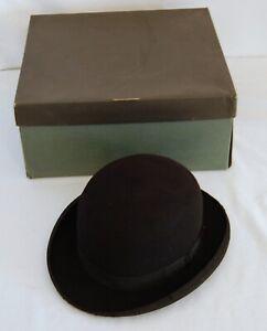 Vintage Stephen L Stetson Derby Bowler Hat Size 7 3/8 W/ Box 1930's Rare Black