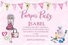 10 Personalised Girl Children Pamper  Birthday Party Invitations or Thank you