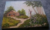AMERICANA VINTAGE FARM COUNTRY LANDSCAPE BARN BIRCH TREE MAIL BOX PATH PAINTING