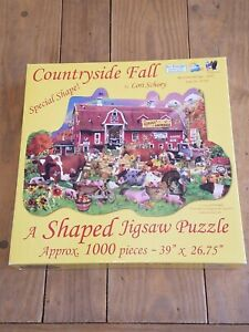 SunsOut 1000 Piece A Shaped Jigsaw Puzzle Countryside Fall Barn Farm Rare HTF