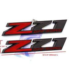 """2x OEM 10"""" Big Z71 OFF ROAD Emblem for GM Silverado Sierra Truck  Lu Black Red"""