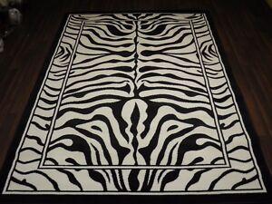 Modern Aprox 8x5 160x230cm Woven Backed Zebra Print Black/Off White Quality rugs