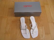 Esprit Damen Pumps Gr. 38 weiß Leder Absatz 5 cm Glitzersteine Sandalen