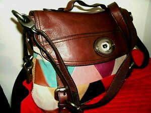 Fossil Lovely Large Multi-Color Maddox Leather Suede Messenger Crossbody in EUC!