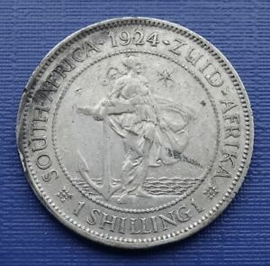South Africa One Shilling Coin~1924 King George V, 800 Silver~KM#17.1~VF~#1107