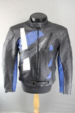 AKITO APOLLO PLUS BLACK/BLUE/SILVER/WHITE LEATHER BIKER JACKET + PROTECTORS 42IN