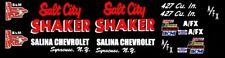 SALT CITY SHAKER Salina Chevrolet Monte Carlo 1/43rd  Slot Car Decals Black NHRA