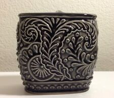 CYNTHIA ROWLEY GREY PAISLEY  CERAMIC TOOTHBRUSH HOLDER