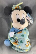 """Disney Parks Babies Mickey Mouse Baby Plush Pluto Blanket Pouch Blankie 10"""" New"""