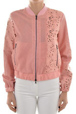 DROME New Woman Pink Laser Cut Floral Bomber Jacket Coat Lamb Leather size S