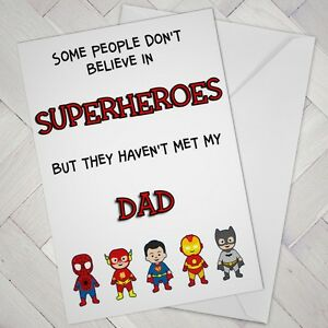 Fathers day DAD Super SUPERHERO Birthday Daddy Marvel Card cute from boy or girl