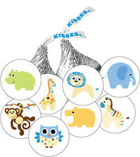 108 Jungle Animals Baby Boy Shower Favor Stickers for Hershey Kisses -8 designs