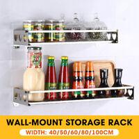 Kitchen Wall Mounted Hanging Shelf Rack Spice Organizer Cookware Storage  @
