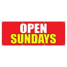 Open Sundays Promotion Business Sign Banner 4 feet x 2 feet /w 4 Grommets