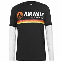 Airwalk Mens Originals Layer T Shirt Long Sleeve Top Crew Neck Cotton Print