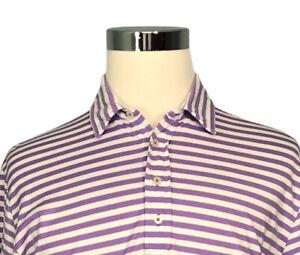 Polo Ralph Lauren Men's Golf Polo Shirt L Large Striped Purple White Pima Cotton