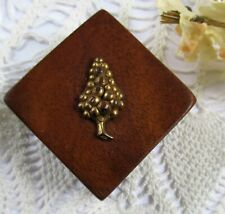 Collectible Vintage Walnut Wood Small Matchbox Holder Gold Grapes Adornment Top